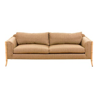 Fabulous Vintage Saber Leg Faux Bamboo Sofa For Sale
