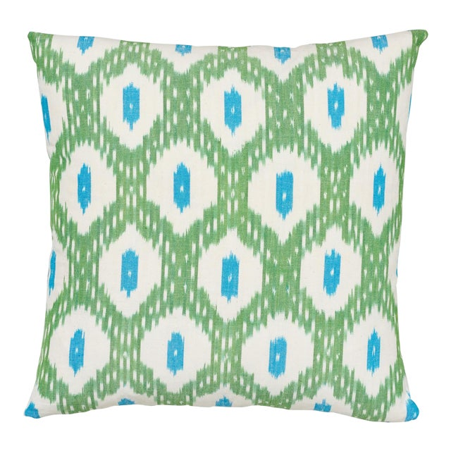 Schumacher Indio Ikat Pillow in Green & Peacock For Sale
