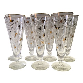 1950s Atomic Style Tall Glasses - Set of 7 For Sale