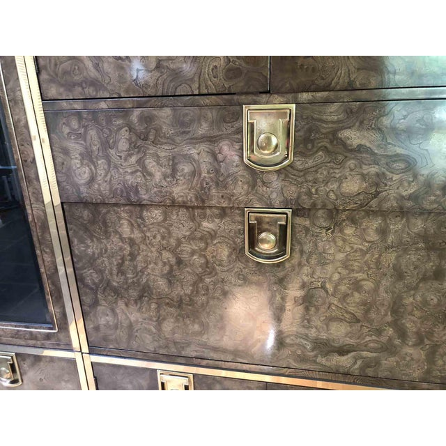 Mastercraft Laquered Burl and Brass Lighted Bar Cabinet For Sale - Image 10 of 13