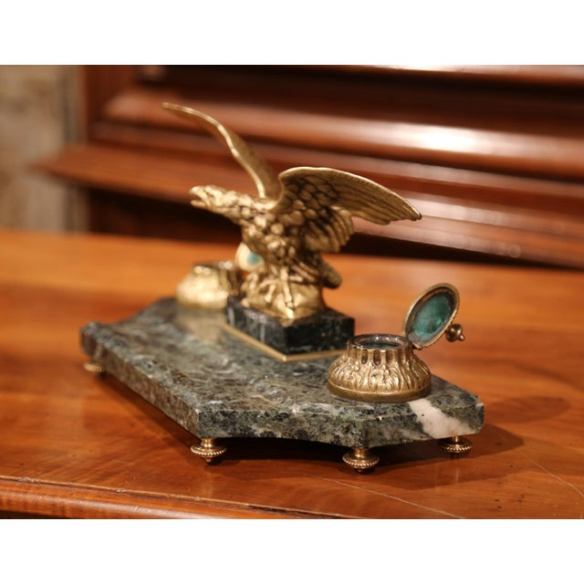 19th Century French Bronze Eagle Green Marble Inkwell and Ink Containers For Sale In Dallas - Image 6 of 8