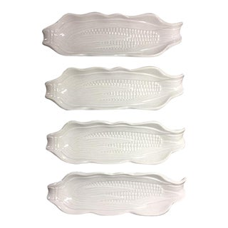 1980s Cottage Pillivuyt Culinaire White Porcelain Corn Holders - Set of 4 For Sale