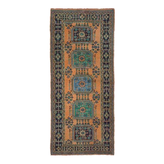Vintage Turkish Orange and Blue Rustic Bohemian Rug - 5′ × 11′ For Sale