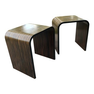 Vintage Ebony Macassar Wood Waterfall Tables - a Pair For Sale