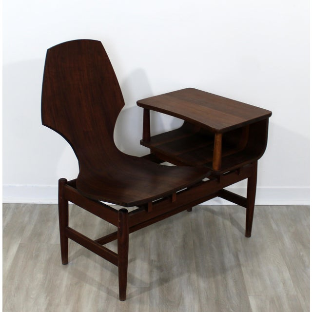 Mid Century Modern Plycraft Bentwood Telephone Gossip Table & Side Chair For Sale - Image 10 of 11
