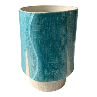 Turquoise and White Ceramic Vase For Sale