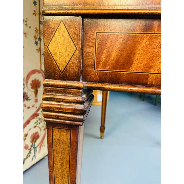 Metal Vintage Regency Maitland Smith Flame Mahogany Burl Two Part Secretary Desk For Sale - Image 7 of 13