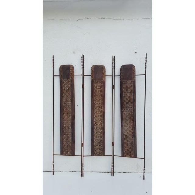 Primitive Vintage Metal & Carved Wood Panels Room Divider Screen For Sale - Image 3 of 9