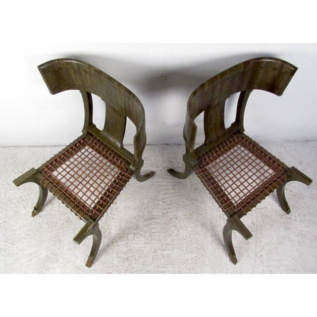 Mid-Century Modern Pair of Mid-Century Snake Skin Klismos Chairs After Robsjohn-Gibbings For Sale - Image 3 of 8