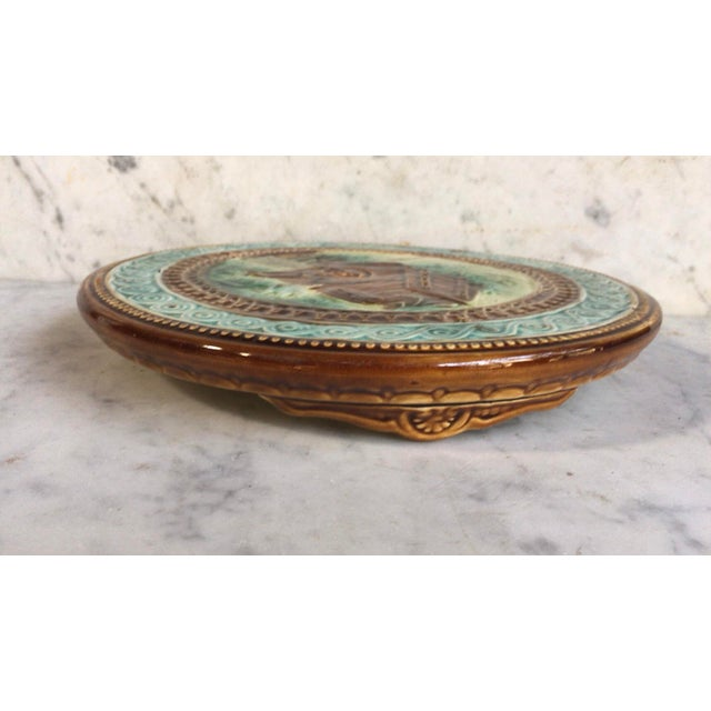 French Country French Majolica Dog Trivet Onnaing Circa 1890 For Sale - Image 3 of 6