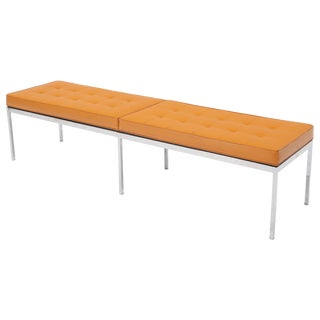 Six Legged Florence Knoll Yellow to Orange Original Upholstery Long Bench For Sale