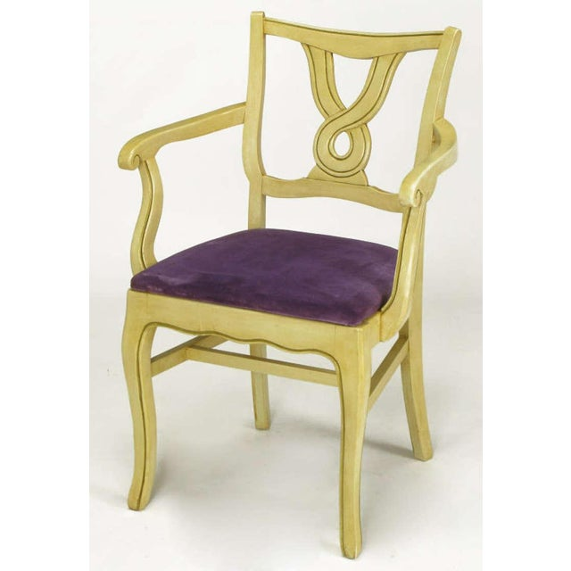 Traditional Six Ivory Glazed Regency Dining Armchairs For Sale - Image 3 of 9