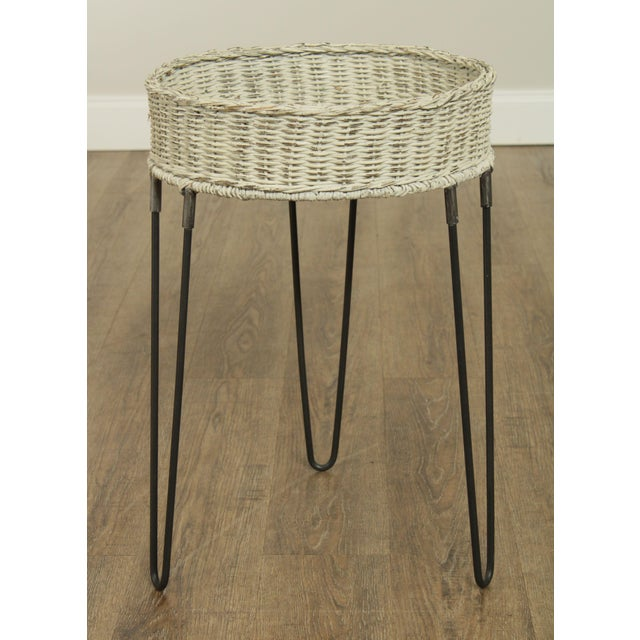 Traditional Round Wicker Planter Table With Hairpin Legs For Sale - Image 3 of 12