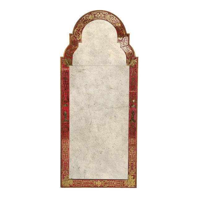 "Queen Anne Reverse-Painted ""Verre Eglomise"" Mirror For Sale"