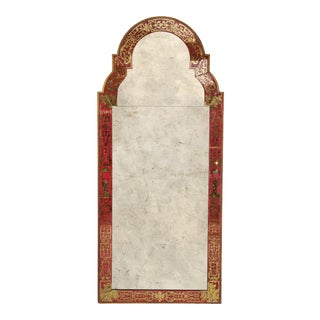"Reverse-Painted ""Verre Eglomise"" Mirror in Queen Anne Manner For Sale"