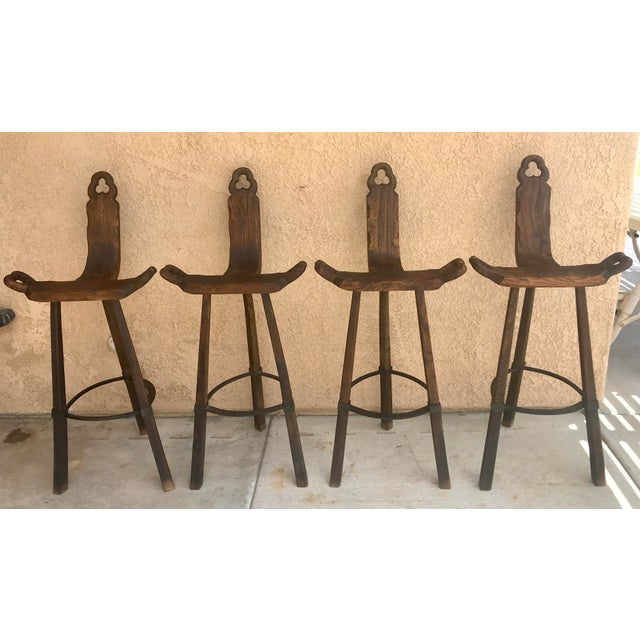 Late 20th Century Set of 4 - 20th Century Primitive Spanish Solid Wood Carved Stool For Sale - Image 5 of 13