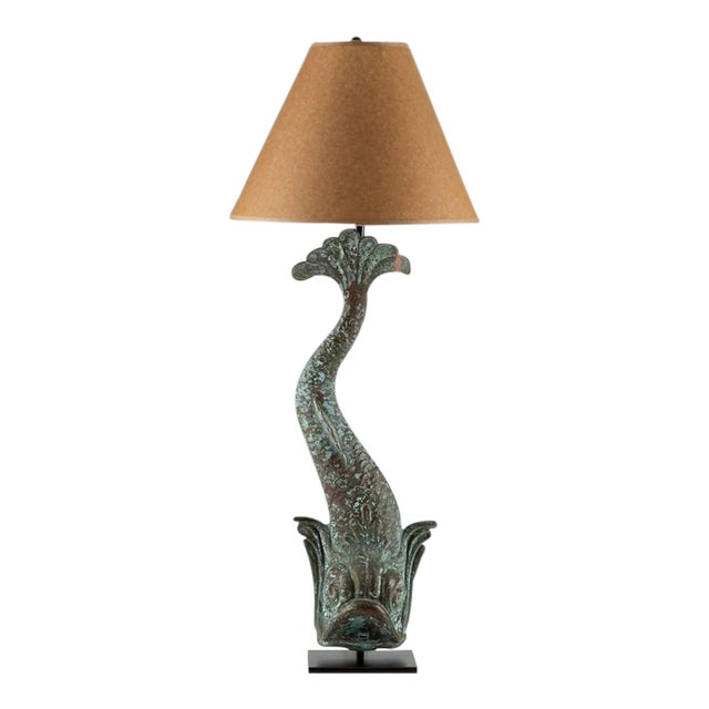 Verdigris Copper Dolphin Waterspout, France c. 1895 Mounted as a Custom lamp For Sale