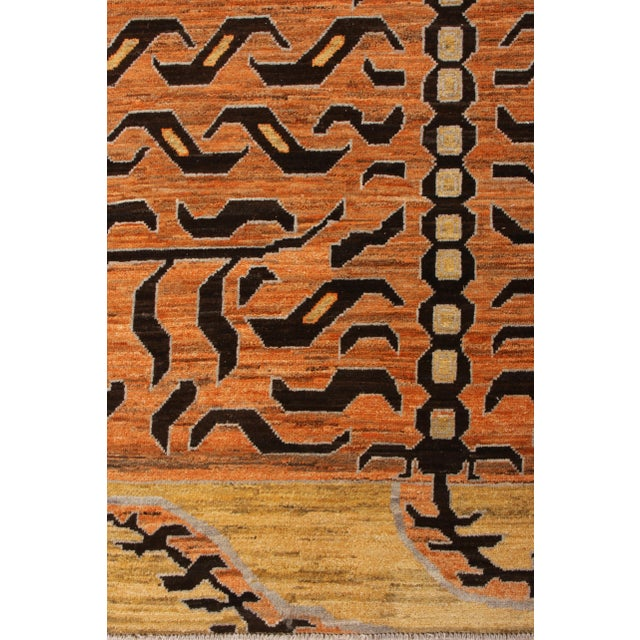 Textile Handknotted Regal Geometric Tiger Rug, Wheat Gold, 9'x14' For Sale - Image 7 of 9