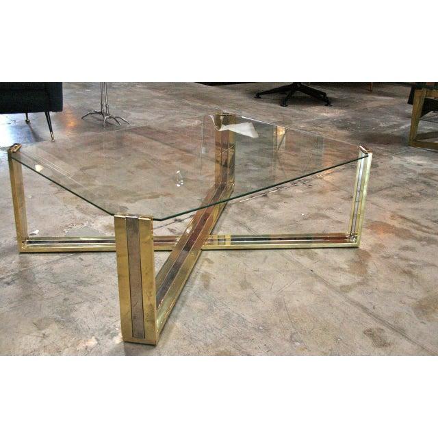Italian coffee table brass and steel, 1960s.