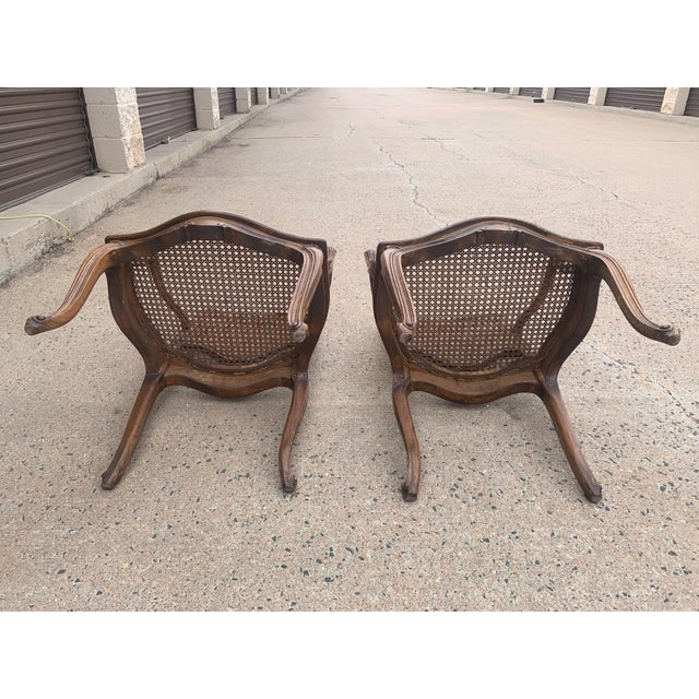 Early 20th Century French Louis XV Style Walnut Caned Fauteuils- a Pair For Sale - Image 9 of 13