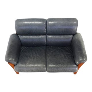 Mid Century Modern Danish Leather and Solid Teak Loveseat For Sale