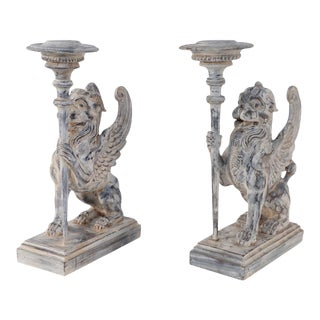 Pair of Neo-Classical Style Carved Chimera Form Candle Holders / Bookends For Sale