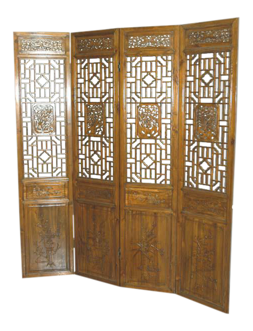 Chinese Four Panel Carved Screen