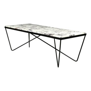 Modernist 1950's Iron & Marble Sculptural Coffee Table After Darrell Landrum For Sale