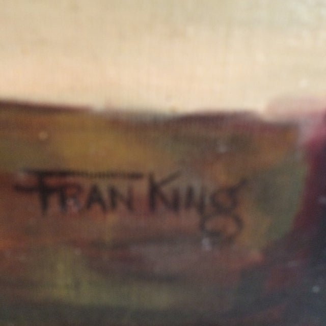 Blue Three Vintage Still Life Oil & Acrylic Framed Paintings by Sacramento Artist Fran King - Group of 3 For Sale - Image 8 of 13