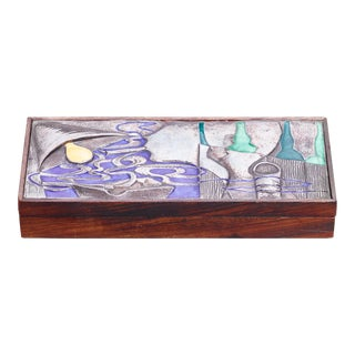Ottaviani Wood With Silver and Enamel Box, Italy, 1960s For Sale