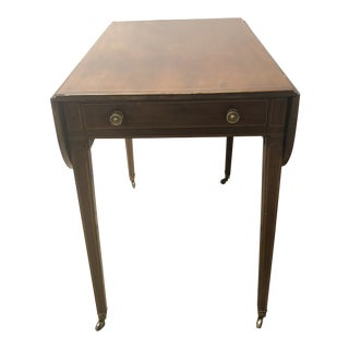 Antique English Hepplewhite Sheraton Pembroke Inlaid Drop Leaf Table Walnut For Sale