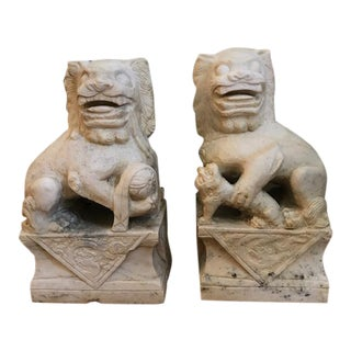 19th Century White Marble Foo Dogs For Sale
