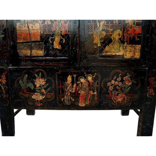 Black 19th Century Chinoiserie-Style Black Elm Cabinet For Sale - Image 8 of 11