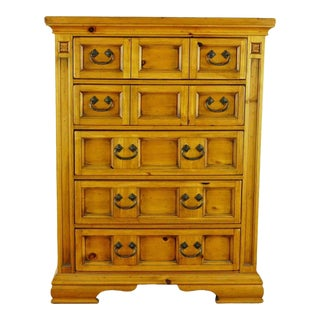 Broyhill Vintage Carved Pine Five Drawer Craftman Style Dresser For Sale