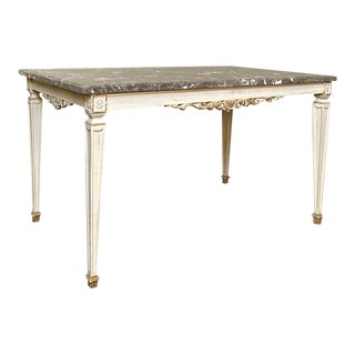 Antique French Louis XVI Painted Marble Top Coffee Table For Sale