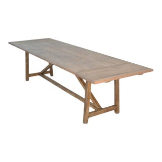 Rustic Extendable Dining Table in Vintage Oak For Sale