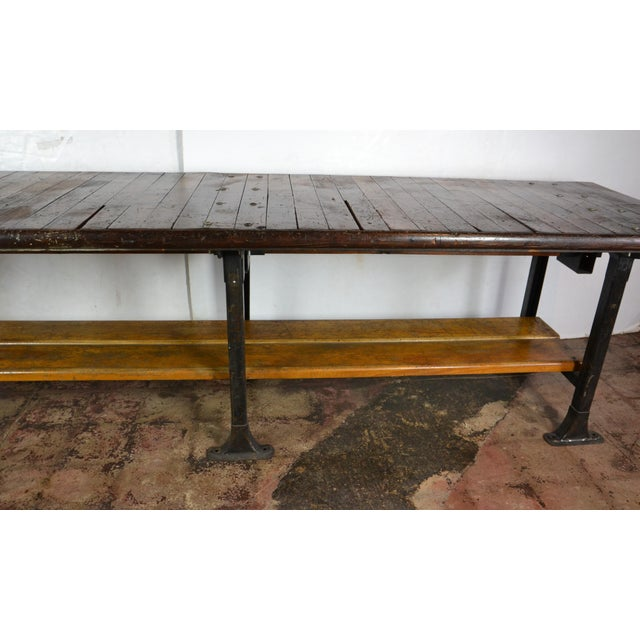 1950s 1950s Long Industrial Table 10 Ft. For Sale - Image 5 of 9