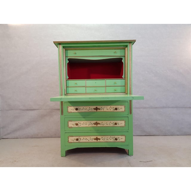 Green French Antique Early 1920s Handpainted Gilted Imperial Style Charming Secretaire Credenza For Sale - Image 8 of 13