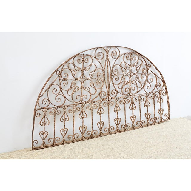 Art Nouveau 19th Century French Demilune Iron Transom Grille For Sale - Image 3 of 12
