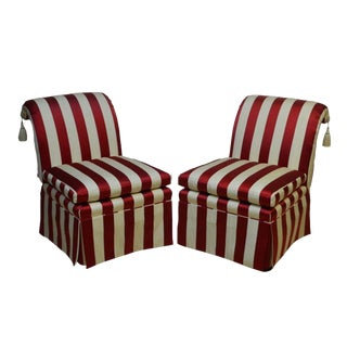 Baker Upholstered Bergere Arm Chairs - a Pair