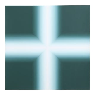 "Babe Shapiro, ""Green v. 2"", Optical Art Screenprint For Sale"