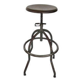 20th Century Industrial Adjustable Wood and Metal Factory Bar Stool