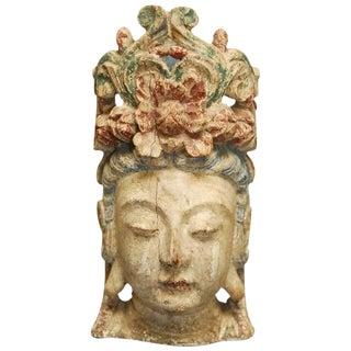 Buddhist Carved Guan Yin Bodhisattva Head For Sale