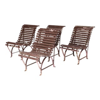 Set of Four French Garden Chairs, circa 1940 For Sale