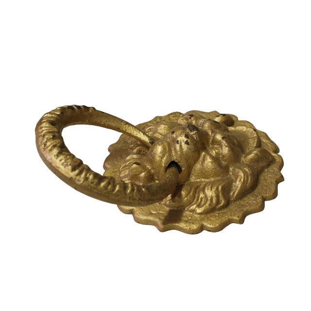 Asian Chinese Metal Distressed Matte Gold Color Lion Head Shape Pull Handle Display For Sale - Image 3 of 8