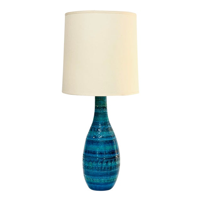 1960s Mid-Century Modern Rimini Blu Ceramic Lamp by Aldo Londi for Bitossi Italy With Shade For Sale