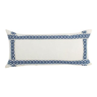 Ivory Linen Lattice Large Lumbar Pillow For Sale