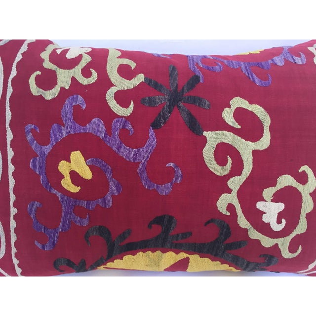 Large Vintage Colorful Suzani Embroidery Throw Pillow From Uzbekistan For Sale In Los Angeles - Image 6 of 13