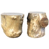 Image of Organic Modern Natural Wood Tree Stump Tables - a Pair For Sale
