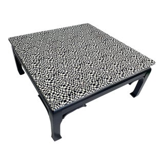 Asian Modern Black and White Geometric Top Coffee Table For Sale